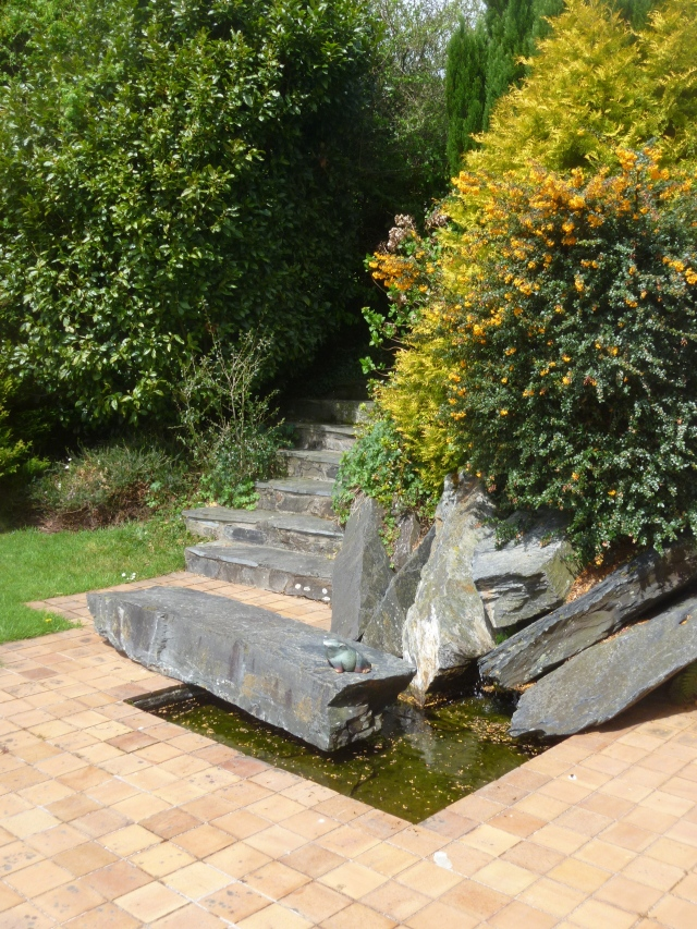 Anderton House water feature in garden