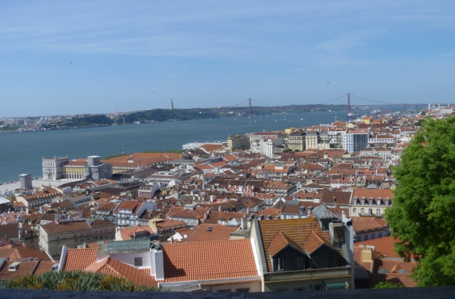 Lisbon, River Tagus and  25 April Bridge from the Castle Esplanade