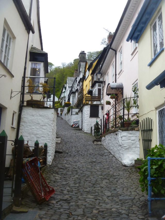 Looking up cobbled street Clovelly