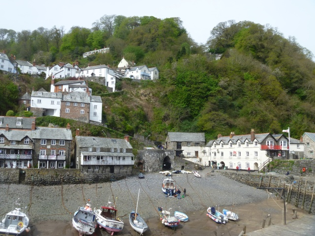The tide is out at Clovelly Harbour