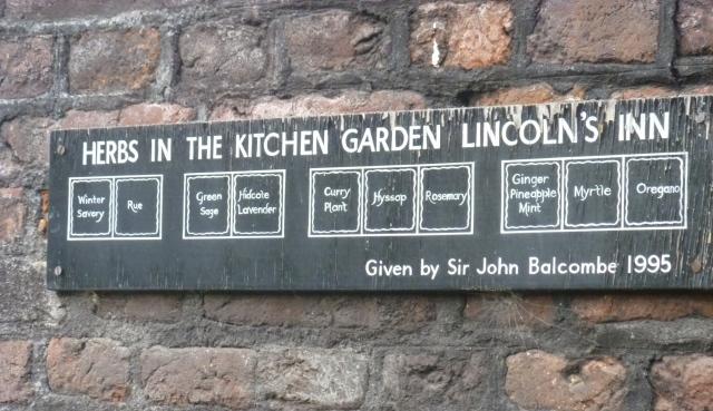 Lincolns Inn herb plan