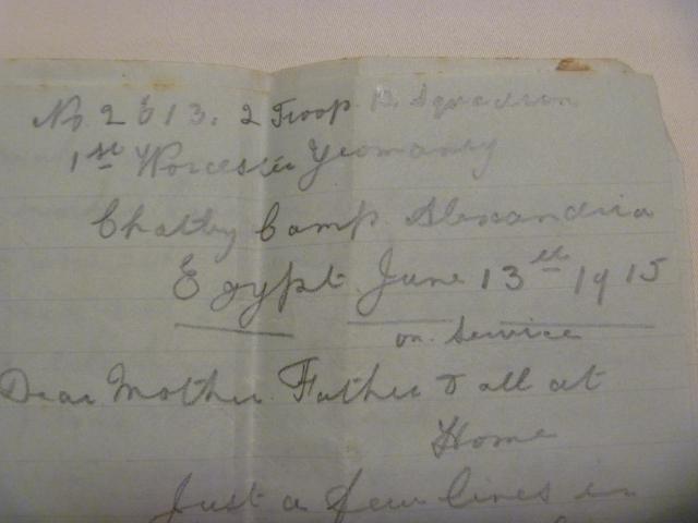 Marshall letter from Egypt