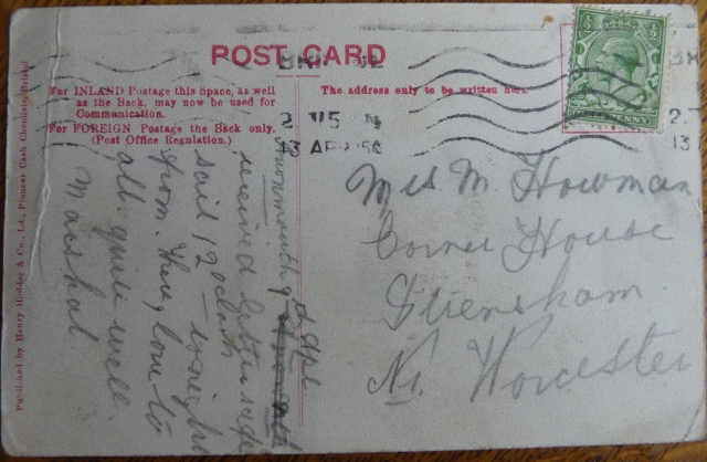 Reverse of card
