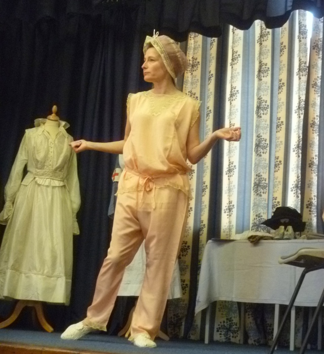 Lucy Adlington in the silk pyjamas and boudoir cap