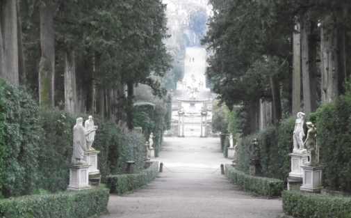 Lined with statues