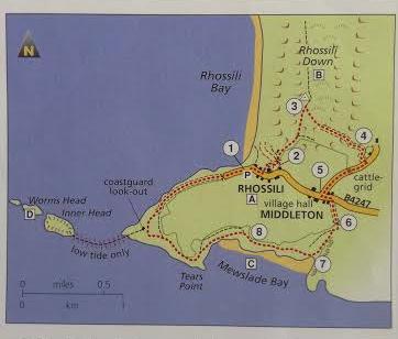 Rhossili walk map